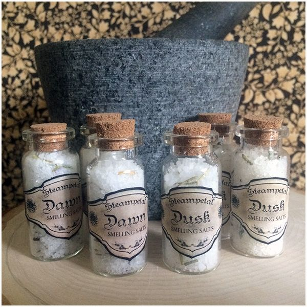 I am offering Dawn and Dusk, two recipes mixed by me, to help give the extra boost you need to get your day going or to calm it down. Smelling salts are a convenient way to cleanse your mind and help you manage when you need them most.  I use cruelty free essential oils in all of my products. Each jar is mixed by me and includes a corked glass bottle and custom label.