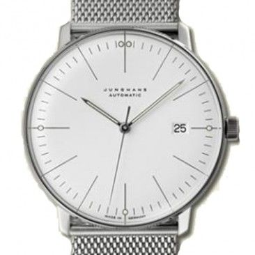 Design by Max Bill.  Made in Germany by Junghans.    Max Bill watches do more than just tell time. They tell a story about the designer. As a pupil under Walter Gropius, Bill became inspired by Bauhaus graphic design and architecture. His watch designs such as the Max Bill Automatic Wrist Watch with Date reflects his interest in creating harmony between the form and function of the watch.   $1,250.00