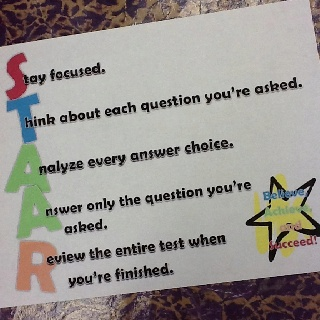 Another great testing acronym! staar tips for success