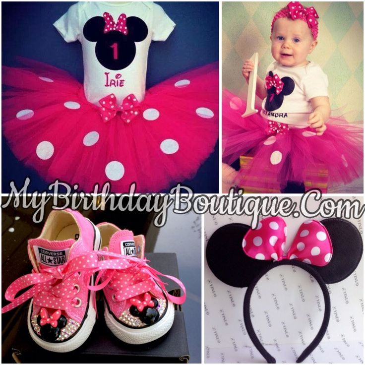 Minnie Mouse first birthday outfit, Minnie Mouse converse, ear headband & necklace