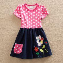 Novas Roupas para meninas bordado curto-de mangas compridas roupas de flores de verão de algodão das crianças Uma palavra vestido de gola redonda H5748(China (Mainland))