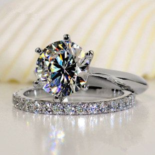 15 Ct Round Cut Lab Created NSCD SONA Diamond Set With Eternity Band Engagement