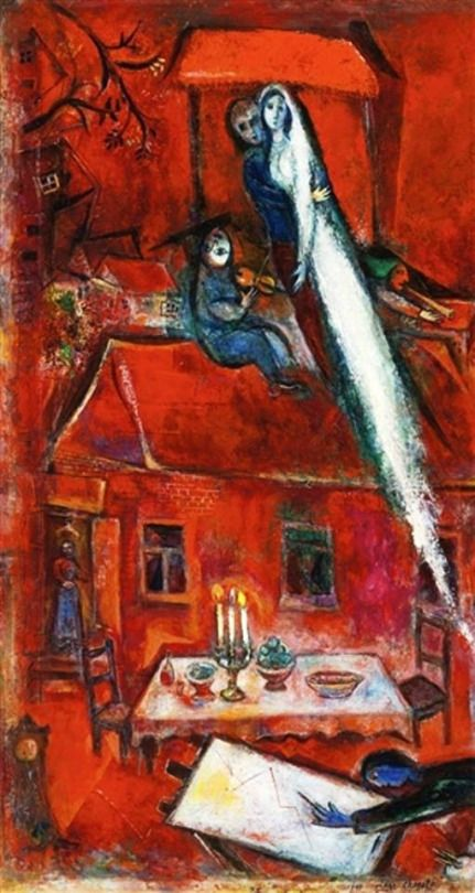 Marc Chagall - Crépuscule ou la Maison Rouge, 1948. Oil on canvas, 36.5 X 19.88 in. (92.71 X 50.48 cm).