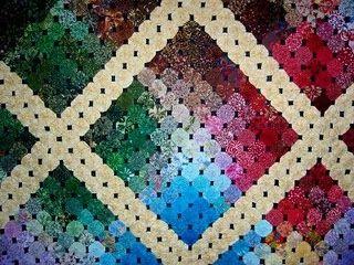 Yo Yo quilt: Quilts Fest, Jersey Vi, Fabrics Yoyo, Sewingfabr Yoyo, Yoyo Quilts Hexi, Maine Street, Yoyo Crafts, Quilts Ideas, New Jersey