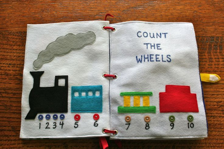 Train quiet book page - Count the wheels