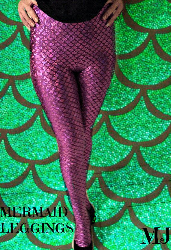 leggings  in fishscale mermaid fabric blackgreen and by mjcreation, $49.00