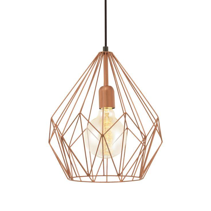 Lámpara colgante de diseño nórdico fabricada en metal con una original estructura geométrica acabada en color cobre, que deja la bombilla al descubierto.
