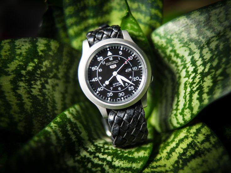 seiko 5 on a handmade kangaroo leather watchband