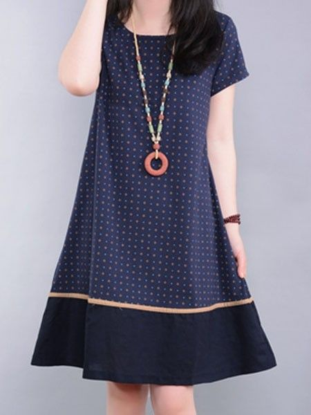 Appealing Round Neck  Polka Dot Shift-dresses Shift Dresses from fashionmia.com