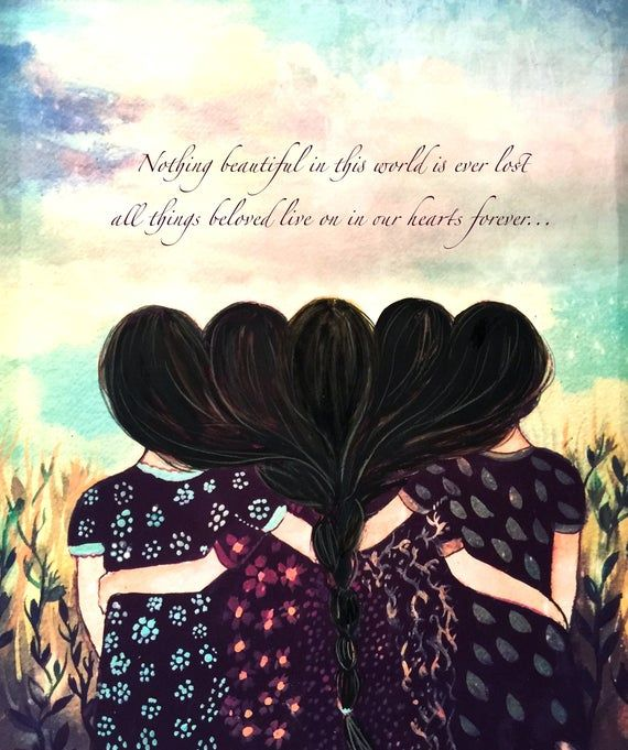 Five Sisters Best Friends With Black Hair Art Print And Quote Etsy In 2021 Drawings Of Friends Sisters Art Girly Art
