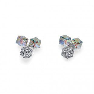 Oliver Weber Women white quad earrings with Swarovski Crystals