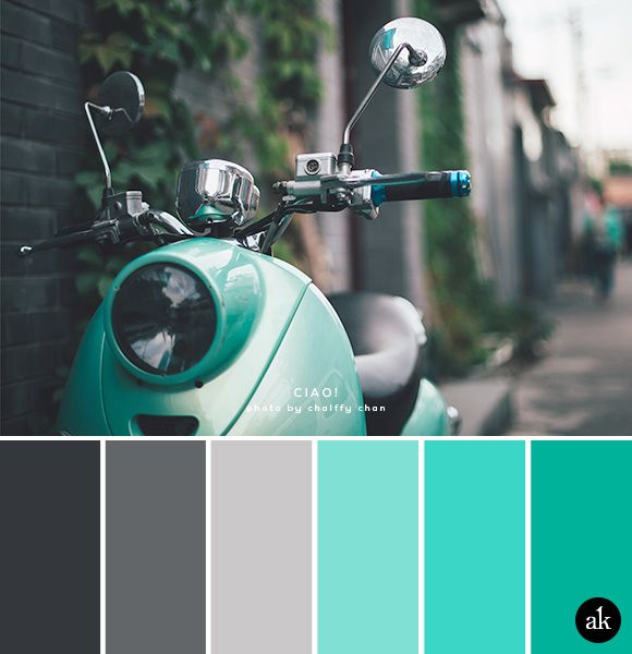 a scooter-inspired color palette // slate, gray, silver, aqua, teal