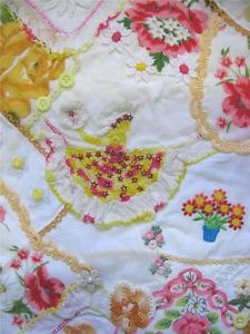 Mini Hankie Crinoline Lady Angels Recycled Art Quilt