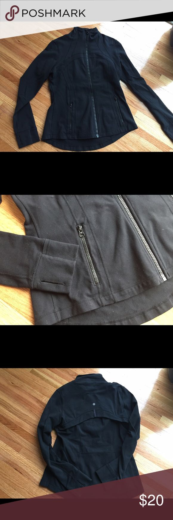 Lululemon define jacket Black jacket. Size 12. Lululemon staple jacket that everyone loves! Great condition minus the patch on the arm. Price reflects that. Low low price so if you don't care about the patch or know how to remove it then this is a GREAT price. lululemon athletica Jackets & Coats