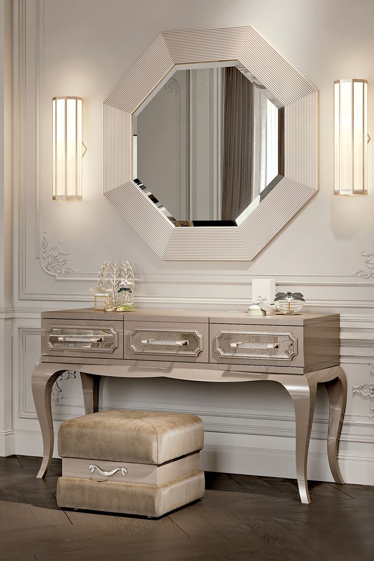 This beautiful set makes a stunning focal point for both traditional and contemporary interiors. Handcrafted in Italy this striking set adds a touch of elegance and sophistication to your home decor, discover the Designer Art Deco Inspired Italian Console Set at Juliettes Interiors - and find the most stylish of additions to any bedroom setting!