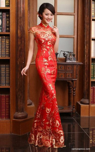 Chinese Bridal Qipao Illusion Beaded Cheongsam Evening Gown Fishtail