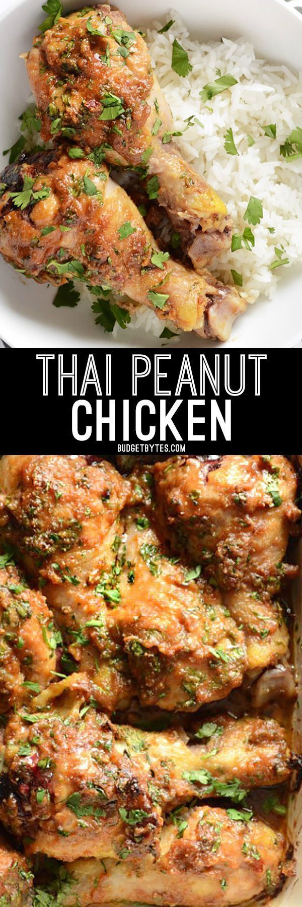Inexpensive chicken drumsticks are transformed into an exotic and flavorful Thai Peanut Chicken thanks to a simple Thai Peanut Sauce. Step by step photos.