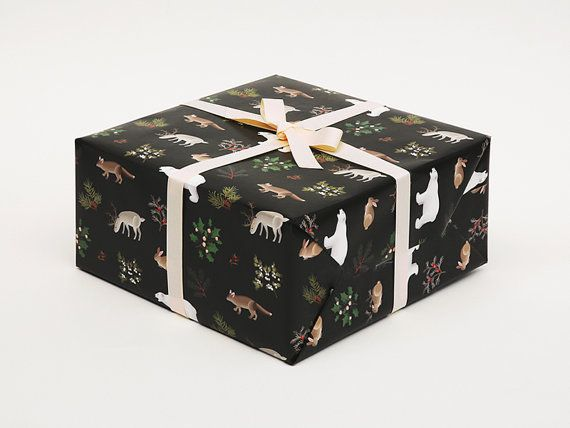 Winter Animals Christmas Wrapping Paper Black  by clapclapdesign