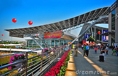 Visitors outside the main entrance of canton fair at Pazhou complex hall 5.0