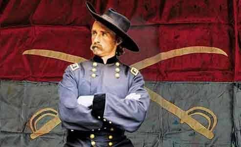 Gen. G.A. Custer with Company Flag