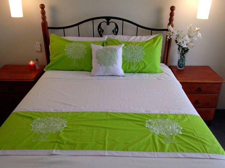 Tree of Life Bed Set 2 Pillow Cases,1 Cushion Cover and Bed Runner Green & White $98.90