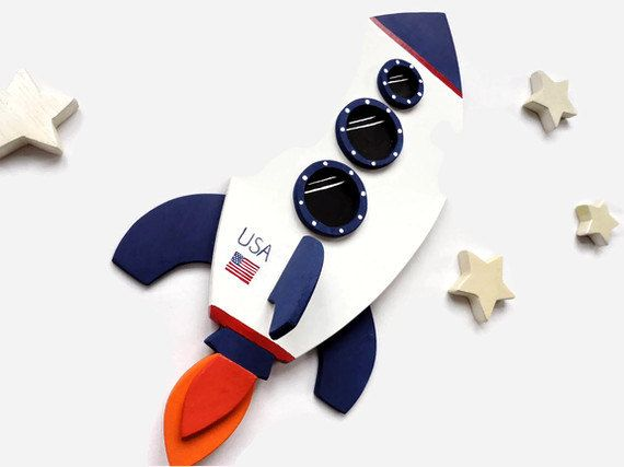 Rocket ship and stars wall decor for kids bedroom or for Childrens rocket bed
