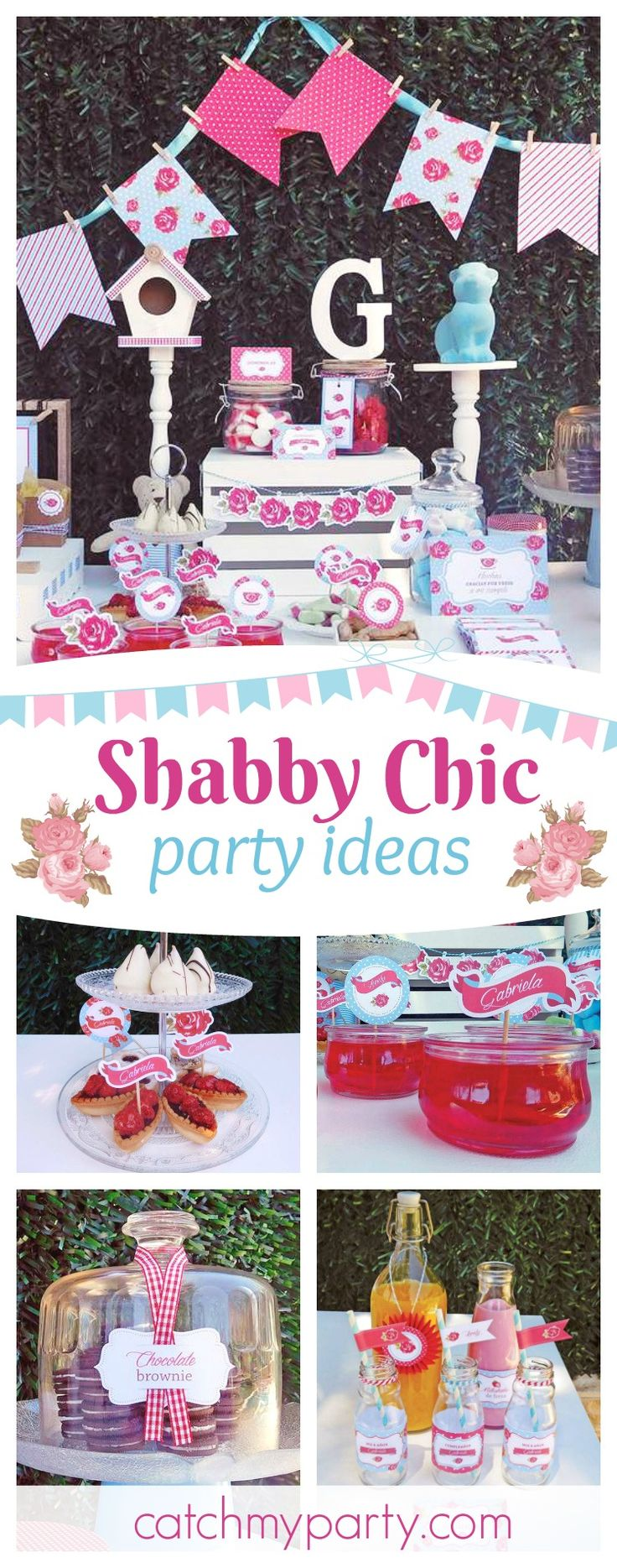 Take a look at this gorgeous Shabby Chic birthday party! The printables are adorable!! See more party ideas and share yours at CatchMyParty.com