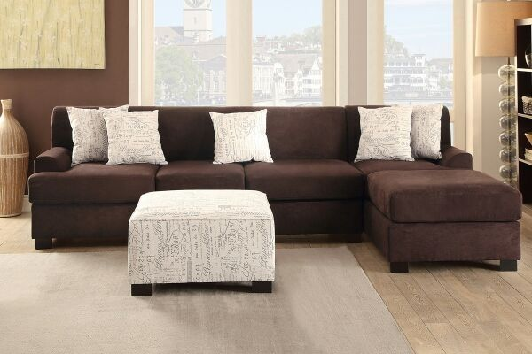 2 pc sectional in microsuede