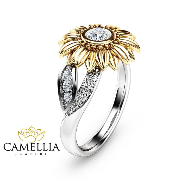 Unique Engagement Ring Natural Diamond 14K Gold Ring Sunflower Engagement Ring Camellia Jewelry by CamelliaJewelry on Etsy https://www.etsy.com/listing/285884661/unique-engagement-ring-natural-diamond
