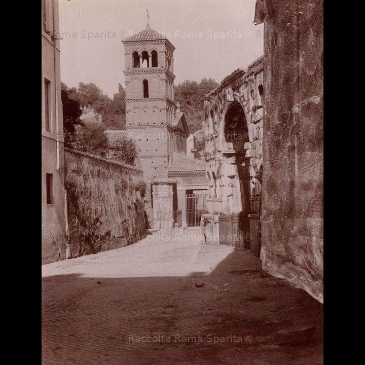 Chiesa di San Giorgio in Velabro. Sulla destra l'arco di Giano Anno: 1890 – 1910