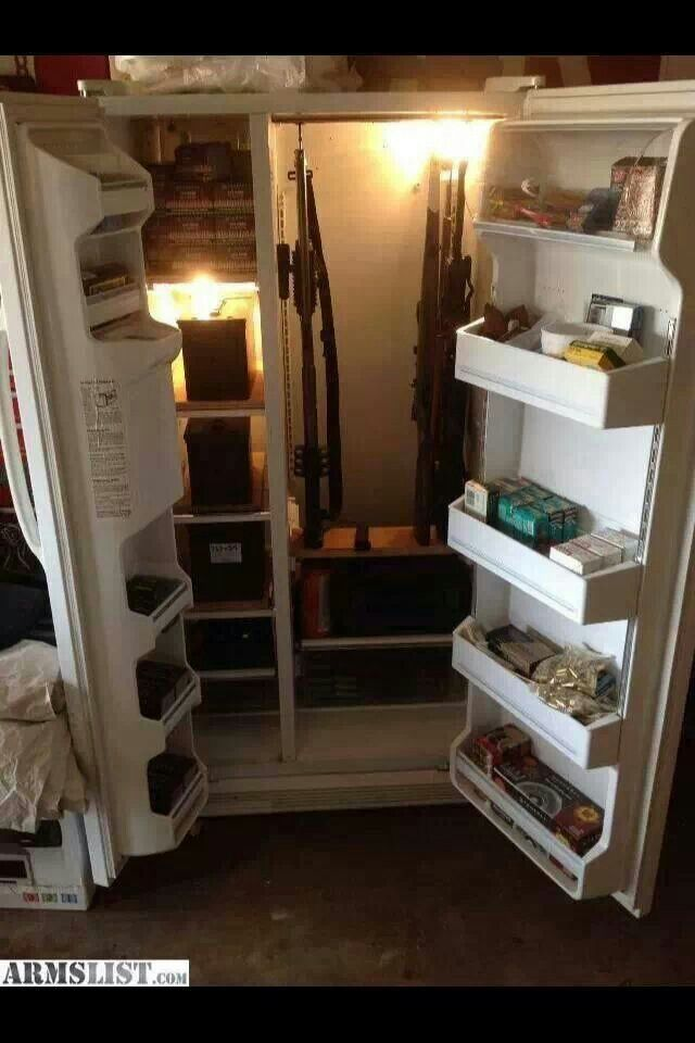 Convert old fridge into gun storage.replace hinges and install door locks of your choice. makes an excellent personal economic safe - not to mention awesome urban camouflage.