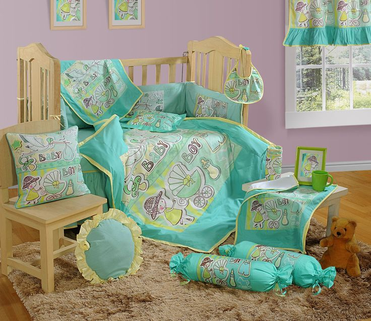 green baby cot duvet cover