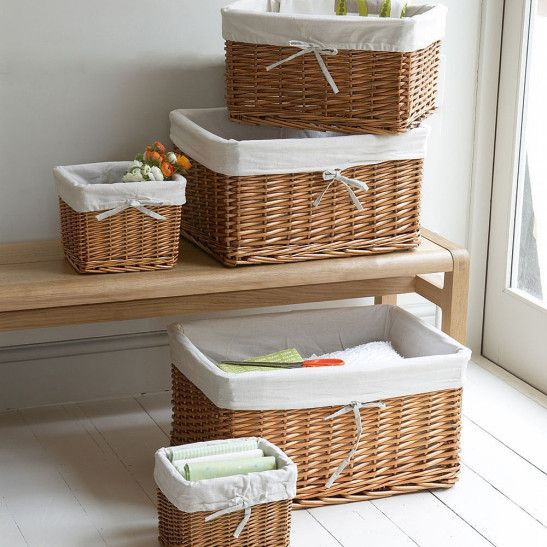 Beautiful Handwoven Lined Wicker Baskets Fitted With Removable Cotton  Liners; Perfect For Clothes Storage.