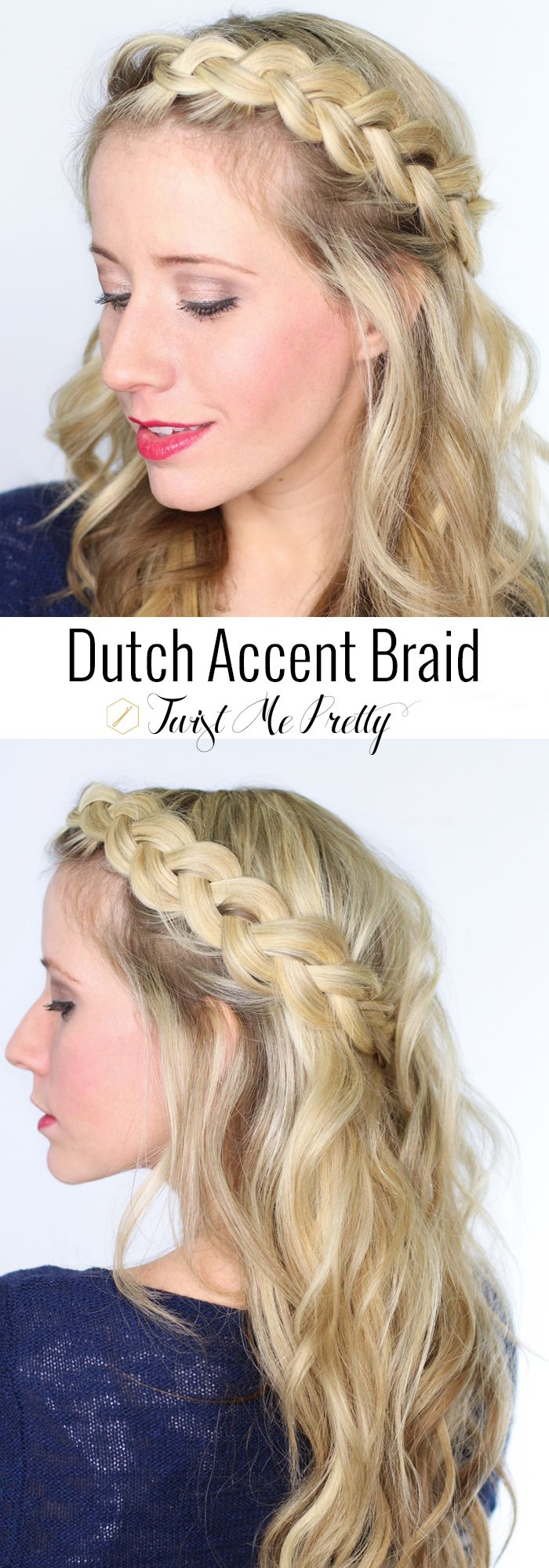 There's nothing prettier than a soft, simple accent braid.  Come learn how to get the perfect dutch braid over at Twist Me Pretty