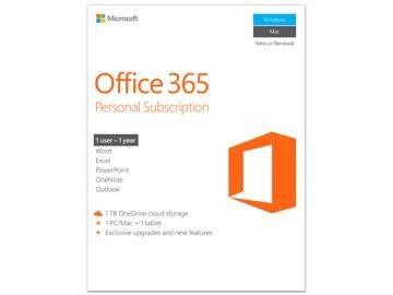 Microsoft Office 365 Personal 1 Year Product Key Card - PC or Mac