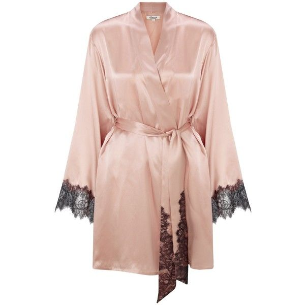 Somerset by Alice Temperley Mia Silk Robe, Blush (€77) ❤ liked on Polyvore featuring intimates, robes, dressing gown, silk chemise, silk bath robes, somerset by alice temperley and silk robe