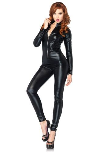 Sexy Black Zipper Catsuit. can be used with many DIY costume ideas.