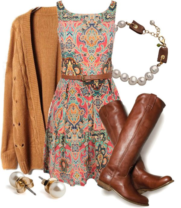 paisley dress + pearls + chunky boots