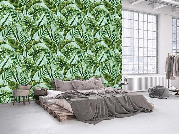 Papier peint panoramique feuillage tropicale imprimé par scenolia