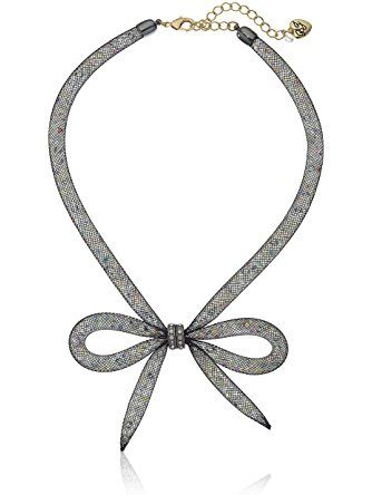 """Betsey Johnson """"Memoirs of Betsey"""" Mesh Bow Necklace, 16"""" + 3"""" Extender ❤ Betsey Johnson Jewelry"""