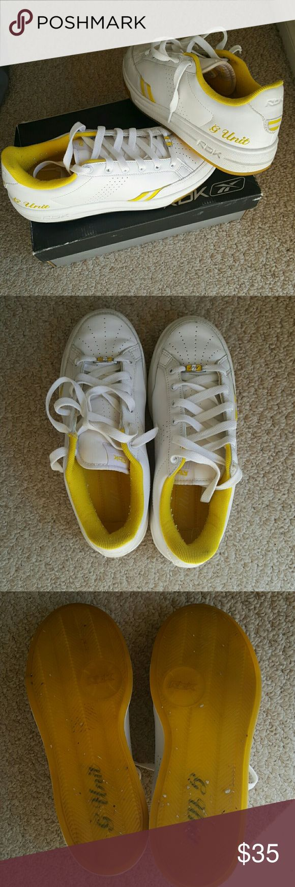 G Unit Reebok Shoes Original, authentic G Unit womens shoes by Reebok. White with yellow accents. They have been stored in and will include the origonal box. Reebok Shoes Sneakers