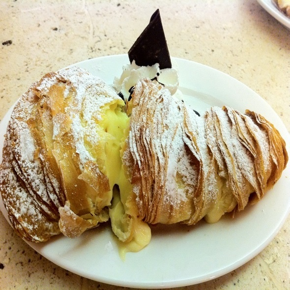 Flakey Lobster Tail pastry filled with custardy pastry cream from@Ferrara Bakery & Cafe
