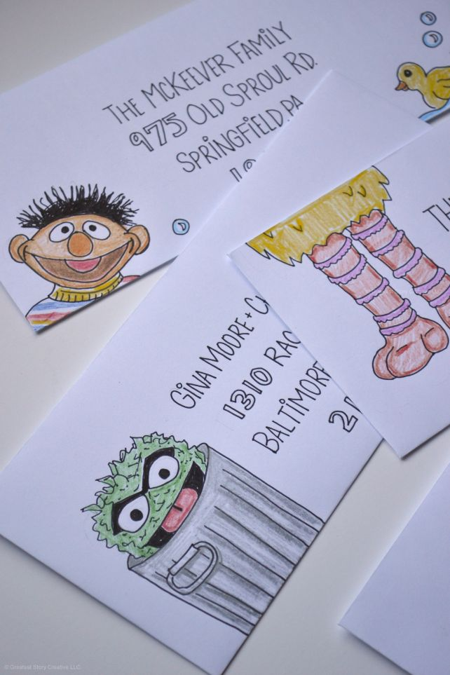 Greatest Story Creative - Events | www.greateststorycreative.com | Custom Sesame Street-inspired First Birthday Party invitations with Creative Hand-lettered Addressing featuring special Sesame characters like Ernie, Big Bird, and Oscar the Grouch