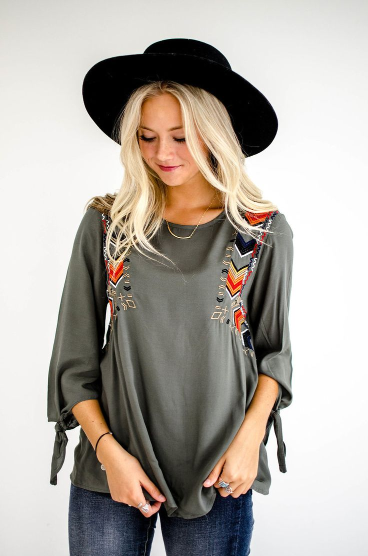 """Hunter Green Blouse Chevron Embroidery Detailing 3/4 Sleeves w/ Working Ties Puckered Darts Loose + Flowing Fit Model is 5'9"""" + Wearing a Small View Size Chart"""