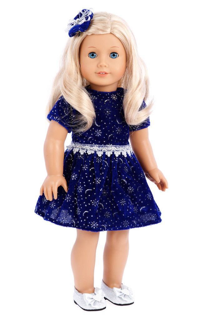 Midnight blue velvet, richly decorated with glittering silver stars matched with silver party shoes. Perfect for evening holiday parties. - Doll dress contains a wide back closure for easy dressing an