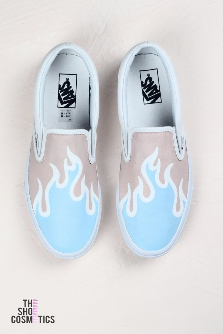 Blue flame vans slip on custom sneakers | Shoes in 2019