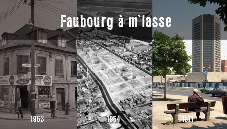 Montage photographique montrant le quartier avant les démolitions, une fois démoli et après la construction de la Maison Radio-Canada.