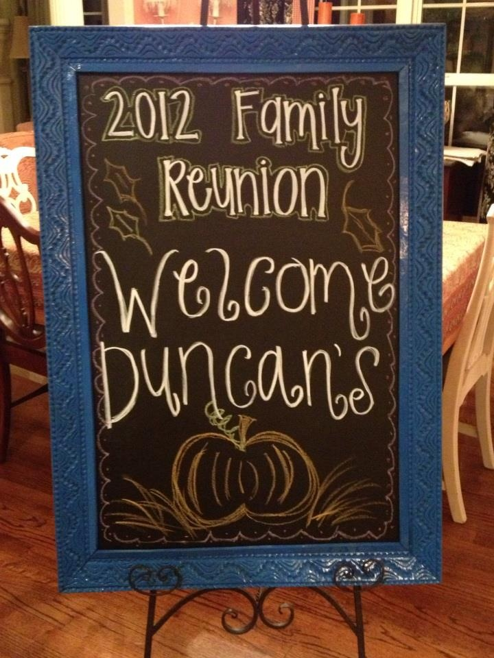 My daughter made this for our family reunion this weekend. I wish I was this creative! Fall Chalkboard