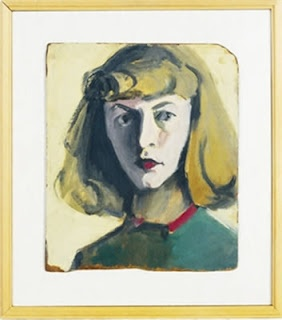 "Self-Portrait, Elaine de Kooning, 1944   Born 1918, NYC, Died 1989, NYC       ""Born and raised in Brooklyn, New York, Elaine de Kooning became a noted Abstract Expressionist* painter who also pursued portrait painting in a semi-realist style.  However, like so many women artists of that era who married artists, her career was sublimated to that of her famous husband, Willem de Kooning."" - AskART"