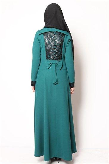 Sırt Dantelli Tesettür Elbise Yeşil NB 2417